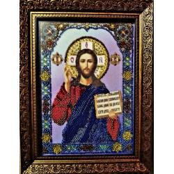 Икона вышитая бисером Господь Вседержитель. 22х17см