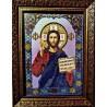 Ікона вишита бісером Господь Вседержитель. 22х17 см