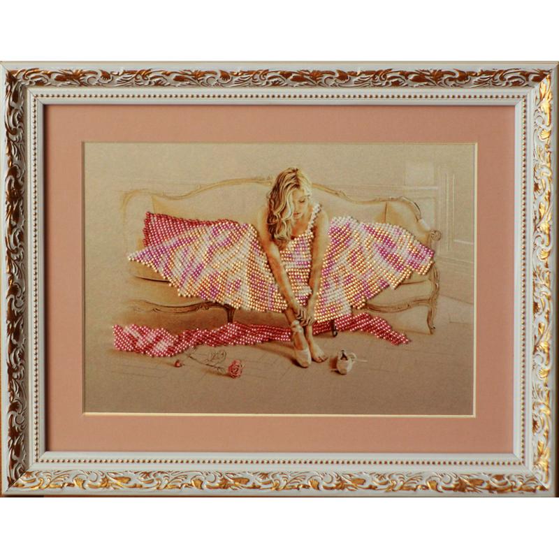 """Картина вышитая  бисером """"Балерина"""". 29х37см"""