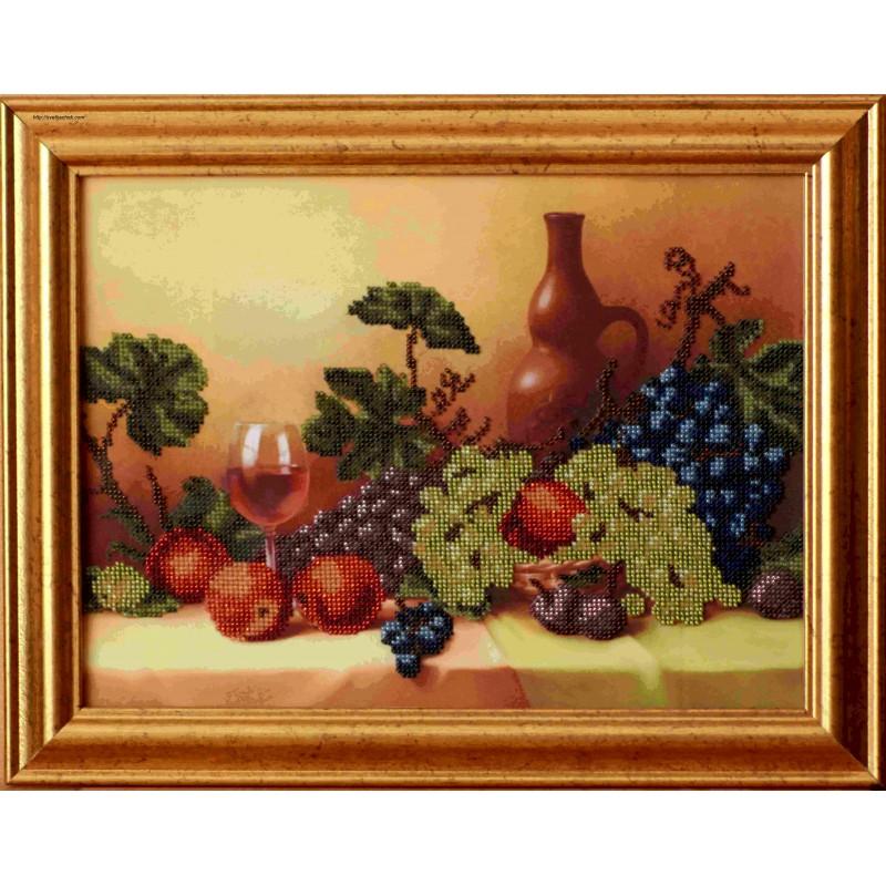 """Картина вишитая бисером """"Натюрморт з фруктами"""". 34,5х43,5"""