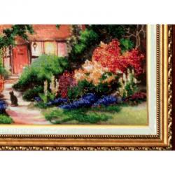 """Картина вишита бісером """"Милий Дім"""" оформлена в раму якісним багетом в багетній майстерні"""