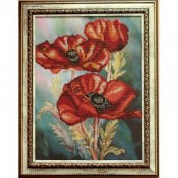 Картина вышитая бисером  Маки