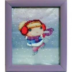 Картина вышитая  бисером Малышка на льду