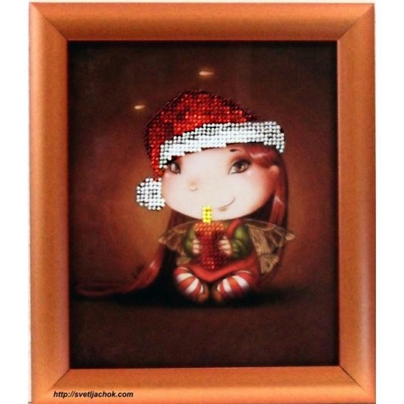 """Картина вишита бісером """"Крихітка Різдвяна Свічка"""". 21,3х18,3см"""