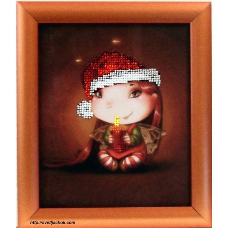 Картина вышитая  бисером Малышка. Рождественская Свечка