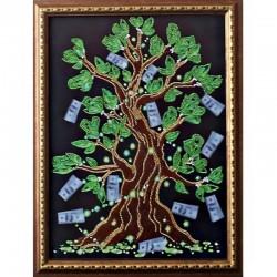 """Картина вишита бісером """"Дерево Достатку"""". 40,5х30,5см"""