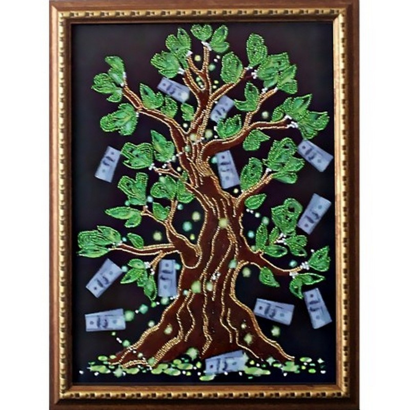 Картина вышитая  бисером  Дерево Достатка
