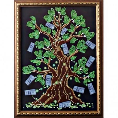 "Картина вышитая  бисером  ""Дерево Достатка"". 40,5х30,5см"