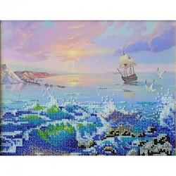 Качественно выполненная вышивка бисером картины Морской Бриз