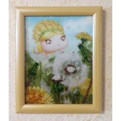Картина вышитая  бисером Малышка и Одуванчик