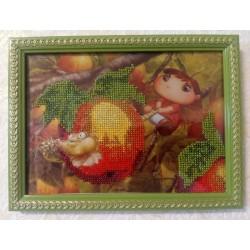 Картина вишита бісером Малятко і яблуко