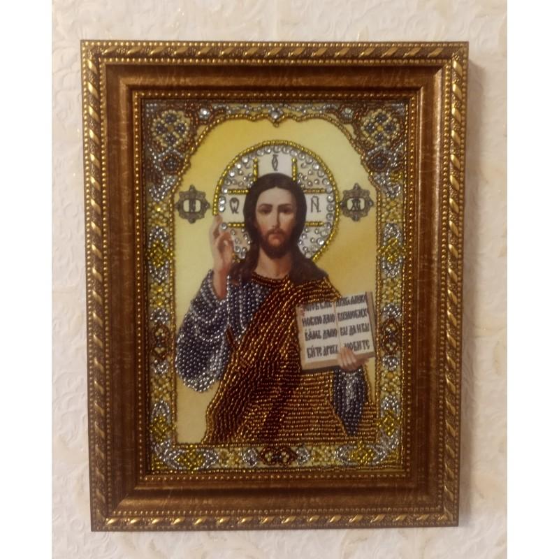 Ікона вишита бісером Господь Вседержитель. 23х17см