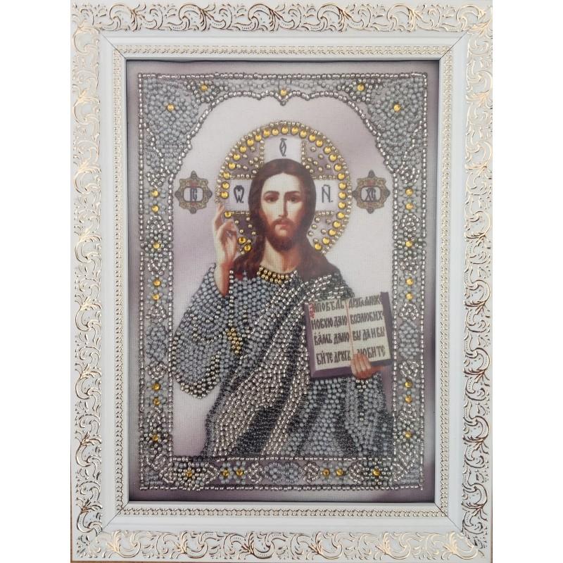 Икона вышитая бисером Господь Вседержитель. 23х17см