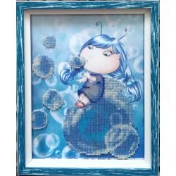 """Картина вишита бісером """"Малятко і бульбашки"""""""
