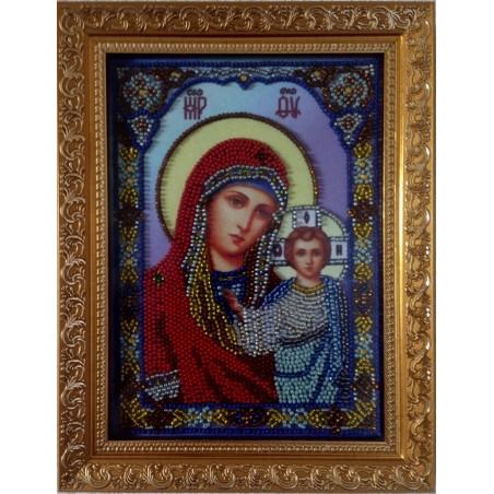 Ікона вишита бісером Богоматір. 23х17, 5см