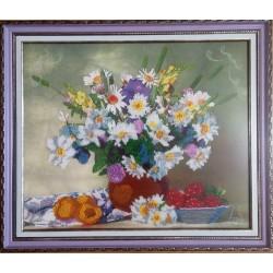 """Картина вишита бісером """"Букет польових квітів"""". 36х42см"""
