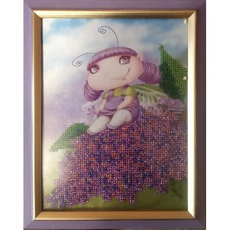 Картина вишита бісером Малятко і бузок