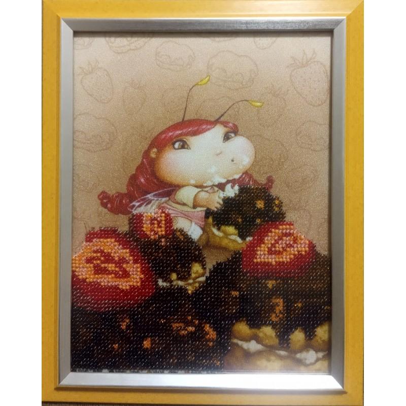"""Картина вышитая  бисером """"Малышка и пироженные"""""""