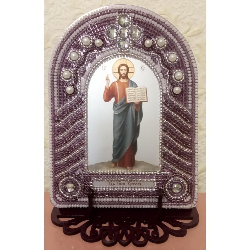 Ікона вишита бісером Господь Ісус Христос. 10,5х14см