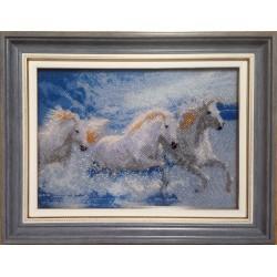 Картина вышитая  бисером Лихая Тройка (полная зашивка)