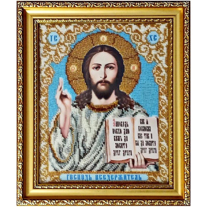 Икона вышитая бисером Господь Вседержитель. 31,5х27см
