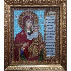 """Образ Божої Матері """"Смоленська"""" з молитвою про дітей вишитий бісером. 25х22см"""
