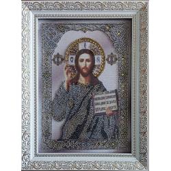Ікона вишита бісером  Ісус Христос Вседержитель. 23,5х18см