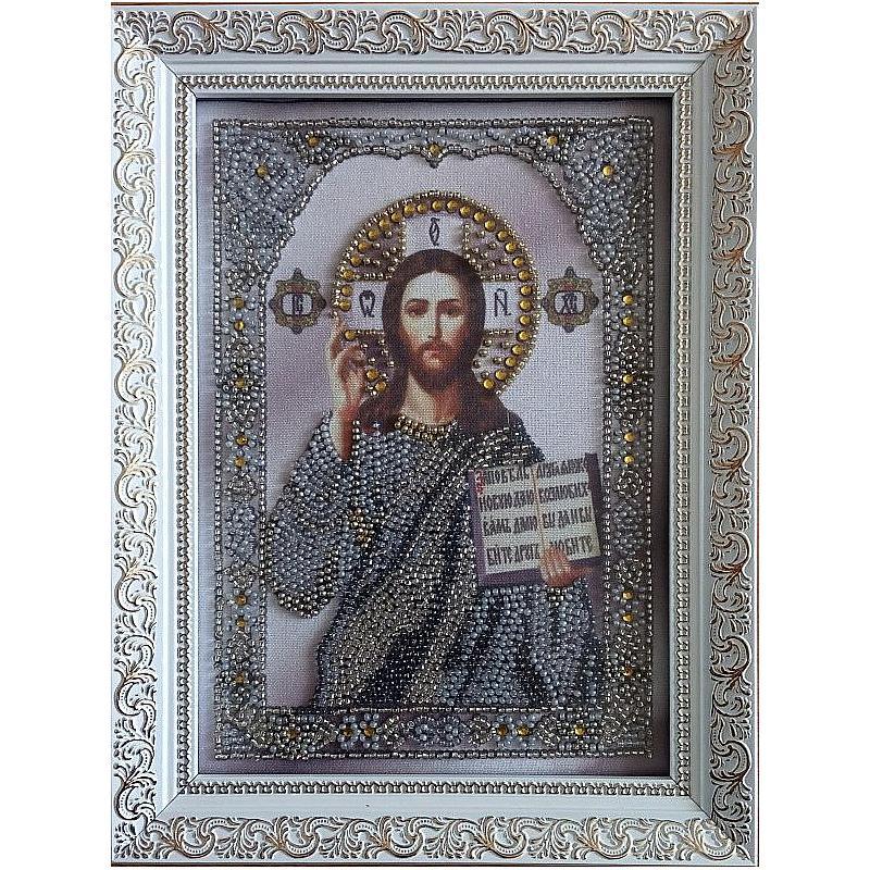 Икона вышитая бисером Иисус Христос Вседержитель. 23,5х18см
