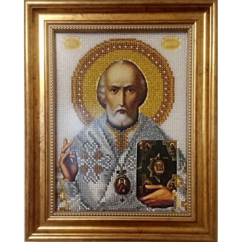Ікона вишита бісером Св. Миколай Чудотворець. 28х22,5см