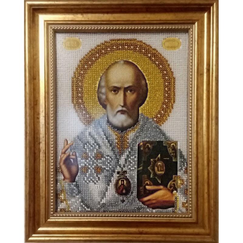 Икона вышитая бисером Св. Николай Чудотворец. 28х22,5см