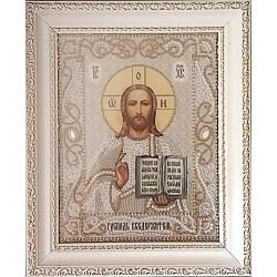Икона вышитая бисером Иисус Христос Вседержитель (Венчальная пара). 30х24,5см