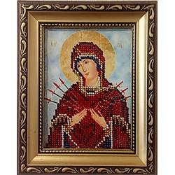 Икона вышитая бисером Семистре́льная  Бо́жией Ма́тери. 17х13см