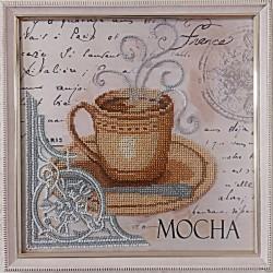 """Картина вышитая  бисером чашечка кофе в Париже """"MOCHA"""".  26,5х26,5см"""
