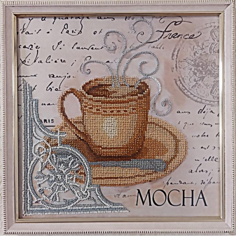 """Картина вишита бісером чашечка кави в Парижі""""MOCHA"""".  26, 5х26, 5см"""