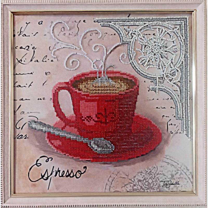 """Картина вышитая  бисером чашечка кофе в Париже  """"Espresso"""".  26,5х26,5см"""