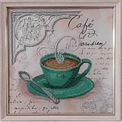 Картина вышитая  бисером чашечка кофе в Париже.  26,5х26,5см