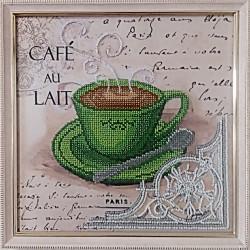"""Картина вишита бісером чашечка кави в Парижі  """"LAIT"""".  26,5х26,5см"""