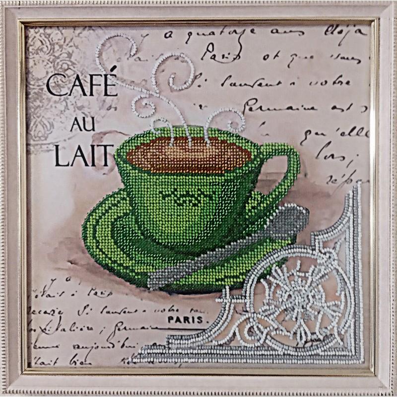 """Картина вышитая  бисером чашечка кофе в Париже  """"LAIT"""".  26,5х26,5см"""