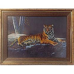 """Картина вышитая  бисером """"Ночной Тигр"""". 38х50см"""