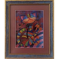 Картина вышитая  бисером Кот-Муркот .  26х22см