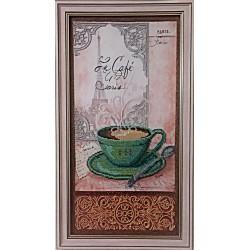 Картина вишита бісером чашечка кави в Парижі.  52х29см