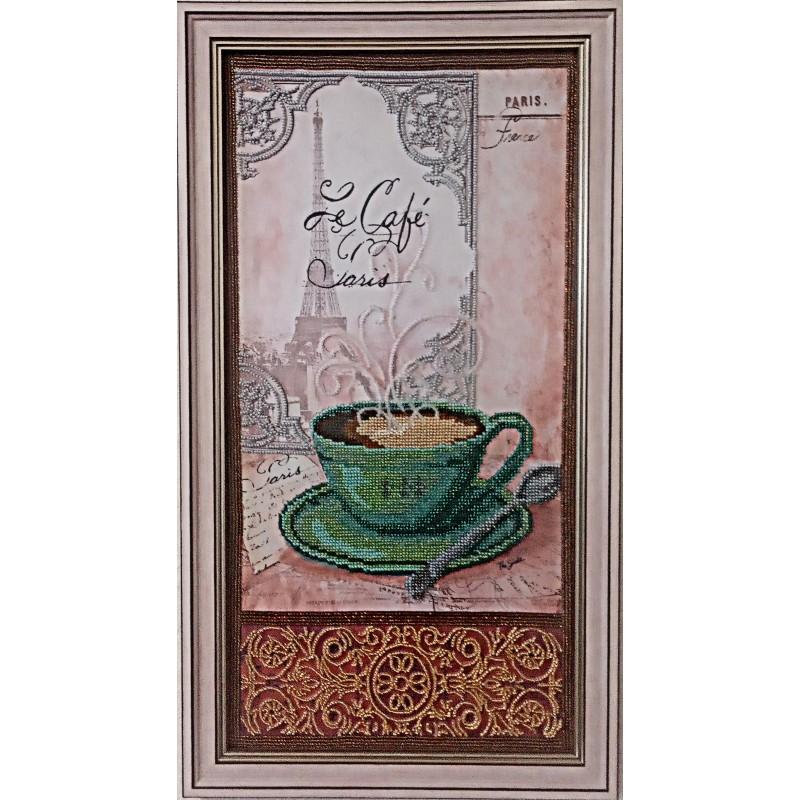 Картина вышитая  бисером чашечка кофе в Париже.  52х29см