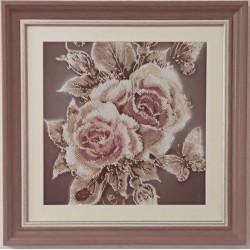 Картина вишита бісером Карамельні Троянди. 43х43см