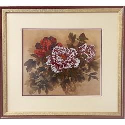 Картина вышитая  бисером Пионы. 35x38,5см