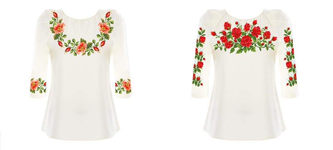 Заготовки блузок для вишивання з нанесеним якісним кольоровим  малюнком-схемою під вишивку бісером