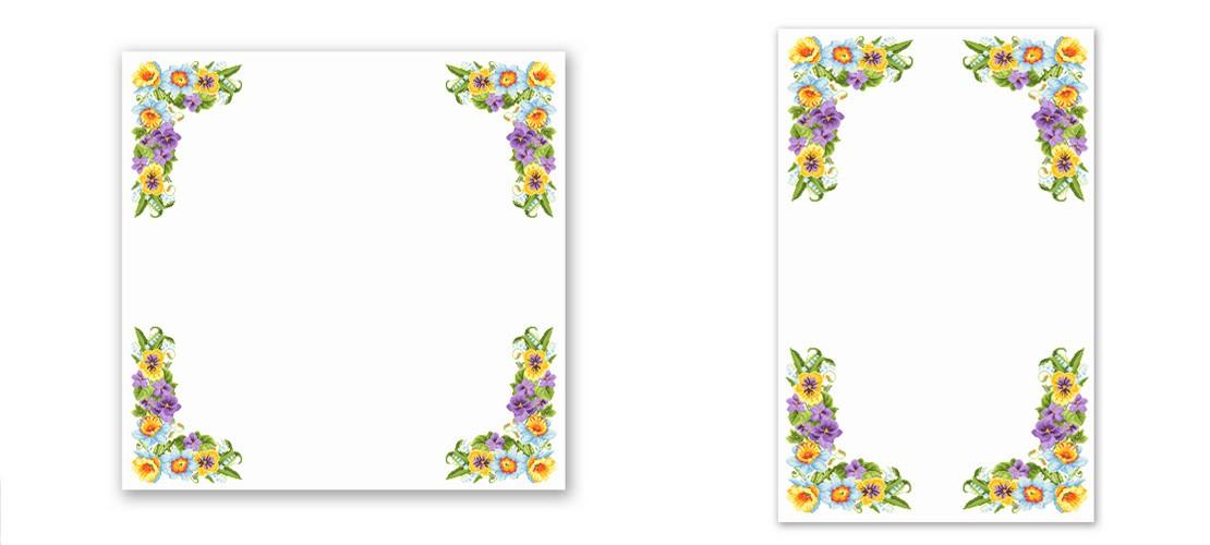 Заготівля для вишивки скатертини з якісним надрукованим кольоровим малюнком-схемою під вишивку